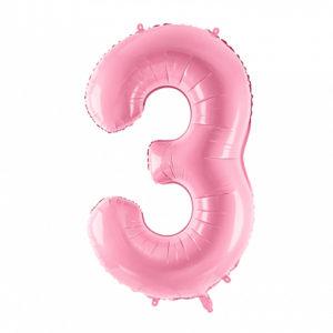 PartyDeco Fóliový balónek narozeninové číslo 3 - růžový 86cm