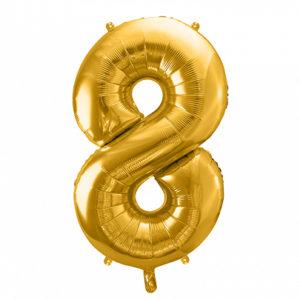 PartyDeco Fóliový balónek narozeninové číslo 8 zlatý 86cm