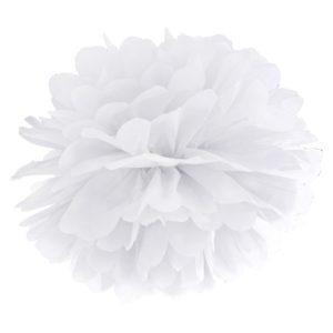 PartyDeco Pompom ve tvaru bílého květu 35 cm