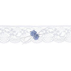 Podvazek svatební krajkový bílý s růžičkami