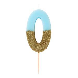 SVÍČKA Číslice narozeninová modrozlatá 0