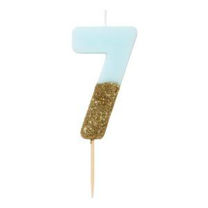 SVÍČKA Číslice narozeninová modrozlatá 7