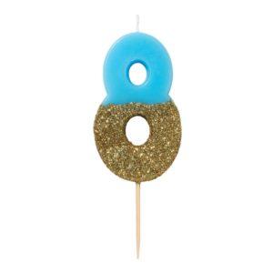 SVÍČKA Číslice narozeninová modrozlatá 8
