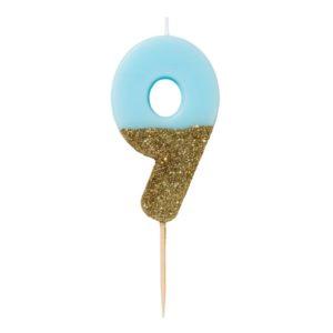 SVÍČKA Číslice narozeninová modrozlatá 9