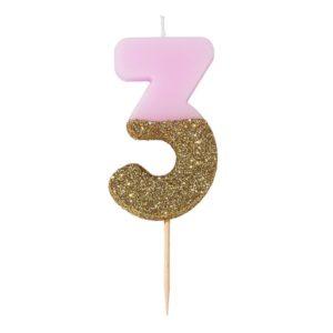 SVÍČKA Číslice narozeninová růžovozlatá 3