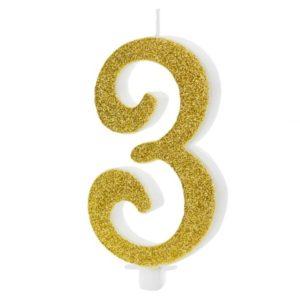 SVÍČKA č.3 zlatá 10cm