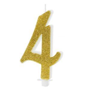 SVÍČKA č.4 zlatá 10cm