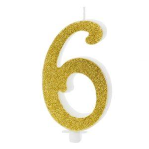 SVÍČKA č.6 zlatá 10cm