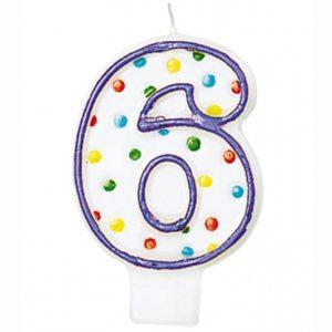 """SVÍČKA číslice """"6"""" s puntíky 1ks"""