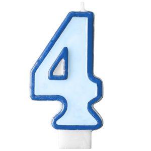 """SVÍČKA dortová """"4"""" modrá 1ks"""
