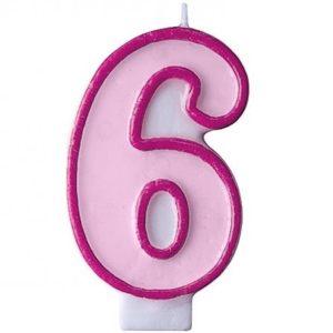 """SVÍČKA dortová """"6"""" růžová 1ks"""