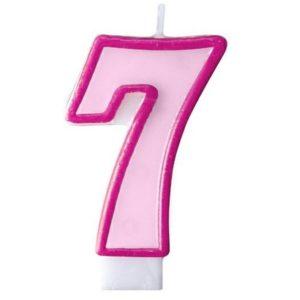 """SVÍČKA dortová """"7"""" růžová 1ks"""