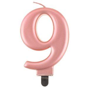Svíčka číslice 9 rose gold 8 cm
