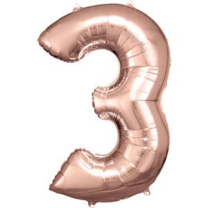 Amscan Balónek fóliový narozeninové číslo 3 - růžovo-zlatý