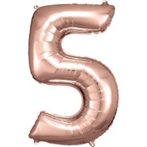 Amscan Balónek fóliový narozeninové číslo 5 - růžovo-zlatý