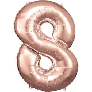 Amscan Balónek fóliový narozeninové číslo 8 - růžovo-zlatý