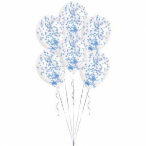 Amscan Balónky latexové modré - konfetové 6 ks