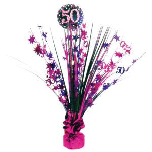 Amscan Dekorace na oslavu - třpytivé 50. narozeniny (růžová)