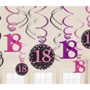 Amscan Dekorace víry 18. narozeniny růžové třpytivé