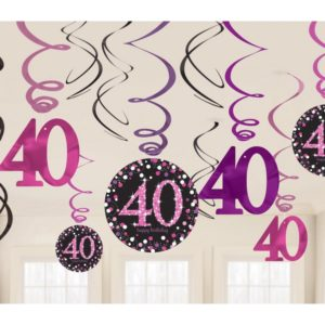 Amscan Dekorace víry 40. narozeniny růžové třpytivé