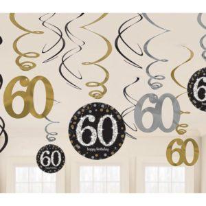 Amscan Dekorace víry 60. narozeniny zlaté třpytivé
