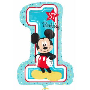 Amscan Fóliový balón 1. narozeniny Mickey 48 x 71 cm