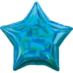 Amscan Fóliový balón - Holografická modrá Hvězda