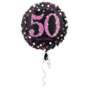 Amscan Fóliový balónek 50 třpytivá růžová