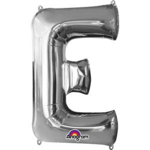 Amscan Fóliový balónek písmeno E 86 cm stříbrný