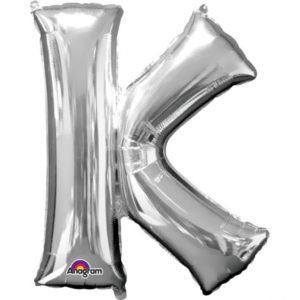 Amscan Fóliový balónek písmeno K 86 cm stříbrný
