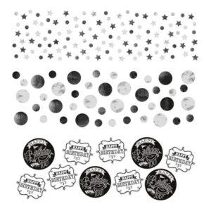Amscan Konfety Happy Birthday - černobílé