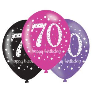 Amscan Latexové balonky 70. narozeniny - růžová party 6 ks