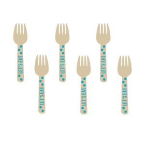 Amscan Mini dřevěné vidličky - modré 12 ks