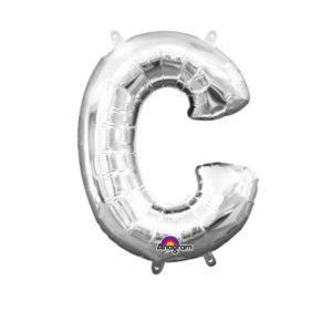 Amscan Mini fóliový balónek písmeno C 33 cm stříbrný