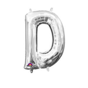 Amscan Mini fóliový balónek písmeno D 33 cm stříbrný