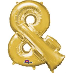 Amscan Mini fóliový balónek symbol & 33 cm zlatý