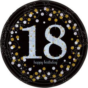Amscan Talíře 18. narozeniny zlaté třpytivé