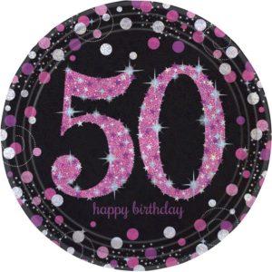 Amscan Talíře 50. narozeniny růžové třpytivé