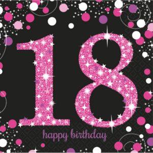 Amscan Ubrousky 18. narozeniny růžové třpytivé