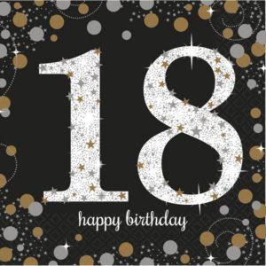 Amscan Ubrousky 18. narozeniny zlaté  třpytivé