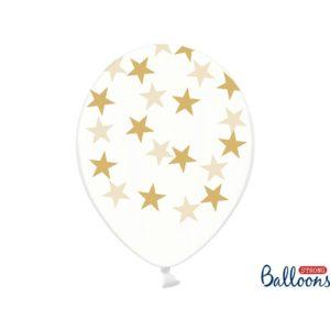 PartyDeco Balónek - Průsvitný se zlatými hvězdami