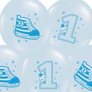 PartyDeco Balónek Teniska 1. narozeniny pastelový modrý