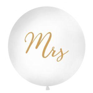 PartyDeco Kulatý Jumbo latexový balón bílý - zlaté Mrs.