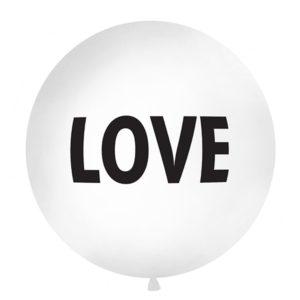 PartyDeco Kulatý latexový Jumbo balón 1M bílý LOVE