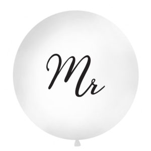 PartyDeco Kulatý latexový Jumbo balón 1M bílý MR