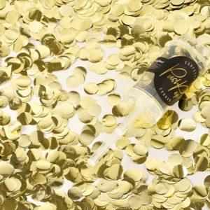 PartyDeco Malé vystřelovací konfety zlaté barvy.