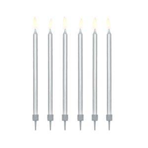 PartyDeco Narodeninové sviečky - strieborné 12 ks