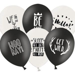 PartyDeco Pastelový balónek Párty černý nebo bíly