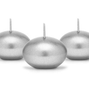 PartyDeco Plovoucí svíčky metalické stříbrné 1 ks