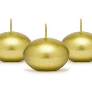 PartyDeco Plovoucí svíčky metalické zlaté 1 ks